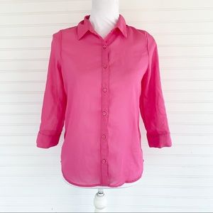 Faded Glory Girls pink button up shirt